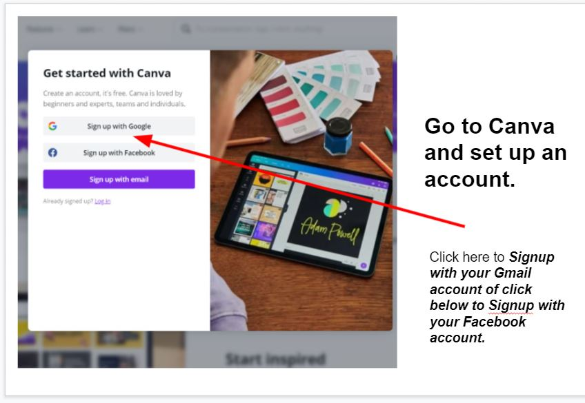 How to create an account on canva