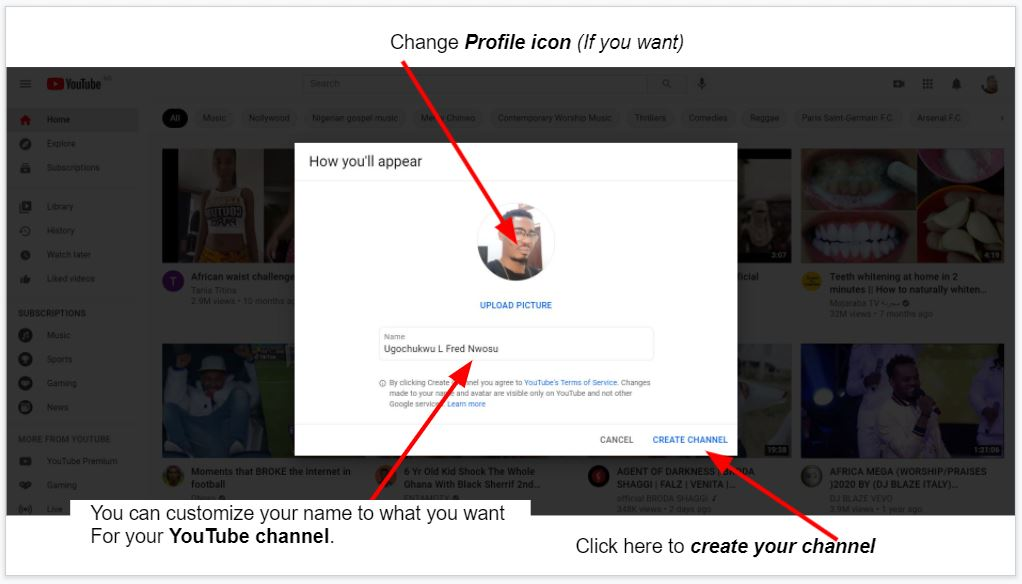 How to change YouTube account profile icon