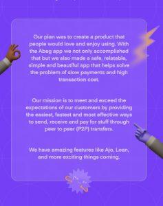 Abeg app mission statement