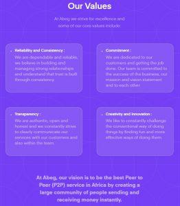 Abeg app company values